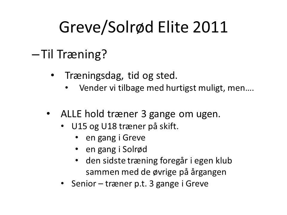 Greve/Solrød Elite 2011 – Til Træning. ALLE hold træner 3 gange om ugen.