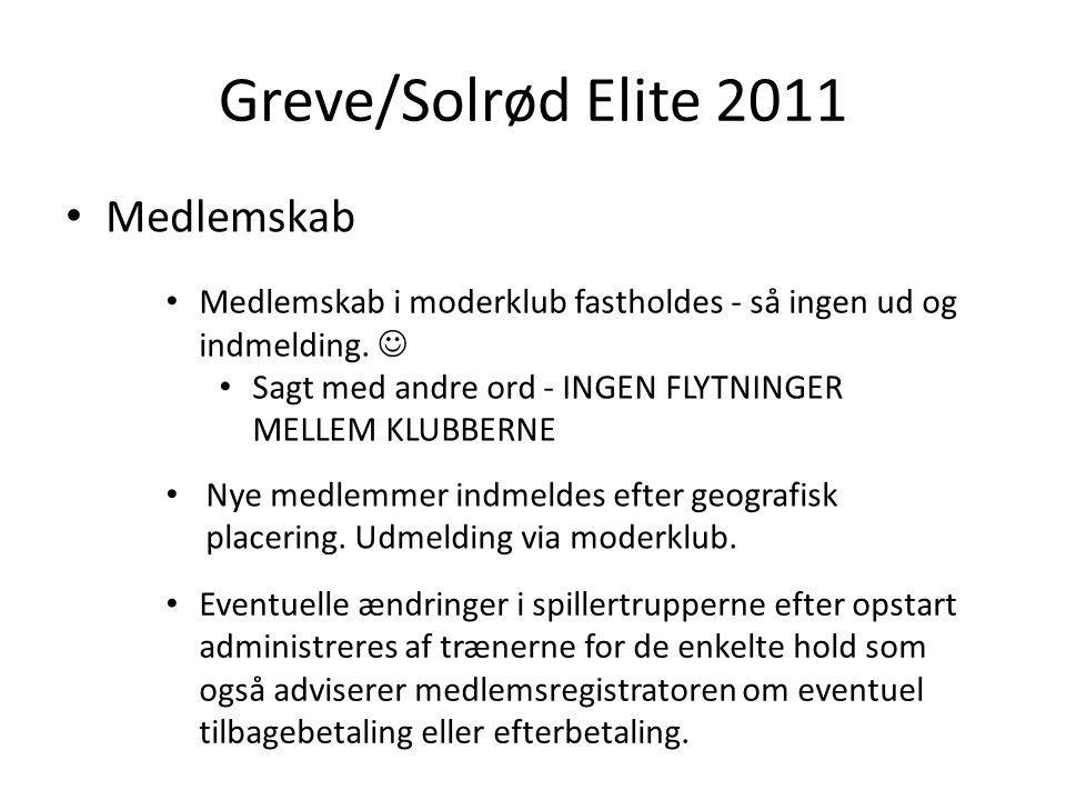 Greve/Solrød Elite 2011 Medlemskab Medlemskab i moderklub fastholdes - så ingen ud og indmelding.