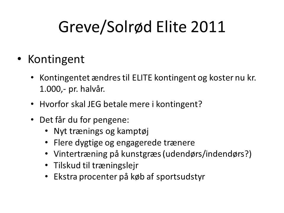 Greve/Solrød Elite 2011 Kontingent Kontingentet ændres til ELITE kontingent og koster nu kr.