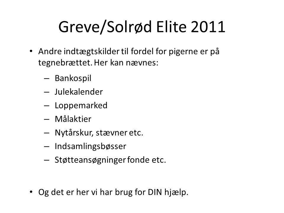 Greve/Solrød Elite 2011 – Bankospil – Julekalender – Loppemarked – Målaktier – Nytårskur, stævner etc.