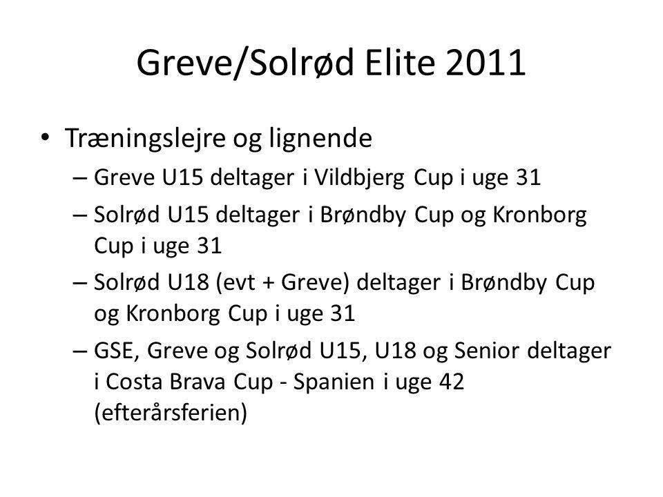 Greve/Solrød Elite 2011 Træningslejre og lignende – Greve U15 deltager i Vildbjerg Cup i uge 31 – Solrød U15 deltager i Brøndby Cup og Kronborg Cup i uge 31 – Solrød U18 (evt + Greve) deltager i Brøndby Cup og Kronborg Cup i uge 31 – GSE, Greve og Solrød U15, U18 og Senior deltager i Costa Brava Cup - Spanien i uge 42 (efterårsferien)