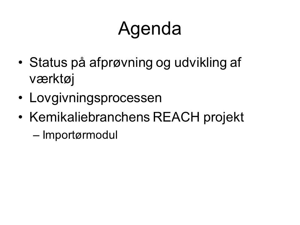 Agenda Status på afprøvning og udvikling af værktøj Lovgivningsprocessen Kemikaliebranchens REACH projekt –Importørmodul