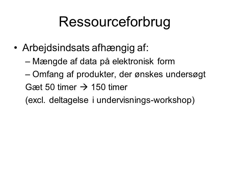 Ressourceforbrug Arbejdsindsats afhængig af: –Mængde af data på elektronisk form –Omfang af produkter, der ønskes undersøgt Gæt 50 timer  150 timer (excl.
