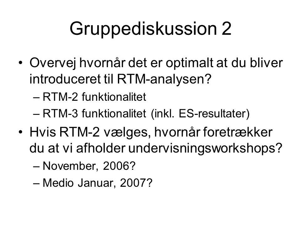 Gruppediskussion 2 Overvej hvornår det er optimalt at du bliver introduceret til RTM-analysen.