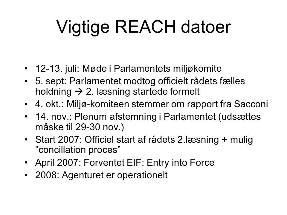 Vigtige REACH datoer 12-13. juli: Møde i Parlamentets miljøkomite 5.