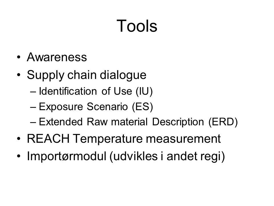 Tools Awareness Supply chain dialogue –Identification of Use (IU) –Exposure Scenario (ES) –Extended Raw material Description (ERD) REACH Temperature measurement Importørmodul (udvikles i andet regi)
