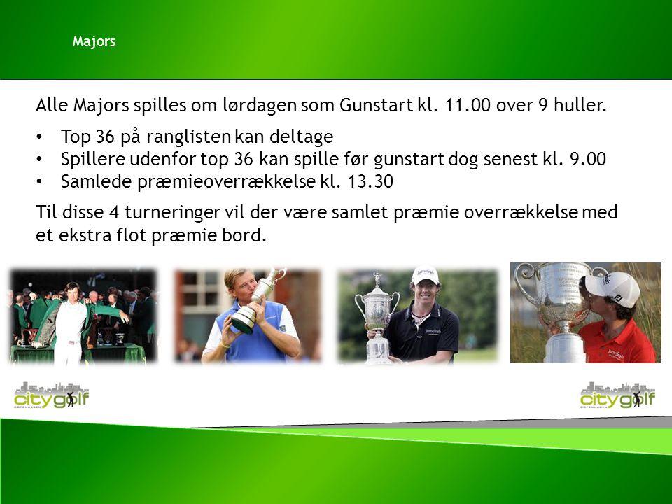 Alle Majors spilles om lørdagen som Gunstart kl. 11.00 over 9 huller.
