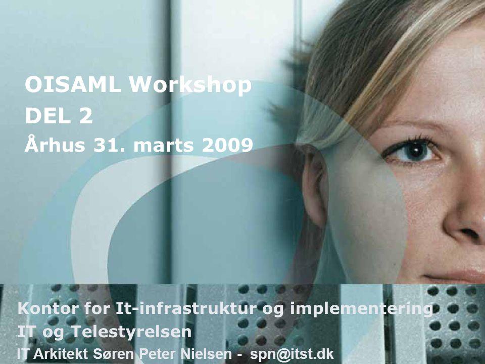 Kontor for It-infrastruktur og implementering IT og Telestyrelsen IT Arkitekt Søren Peter Nielsen - spn@itst.dk OISAML Workshop DEL 2 Århus 31.