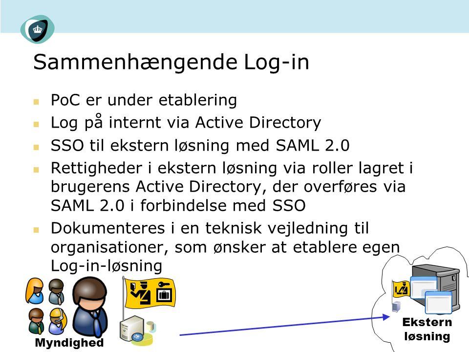 Sammenhængende Log-in PoC er under etablering Log på internt via Active Directory SSO til ekstern løsning med SAML 2.0 Rettigheder i ekstern løsning via roller lagret i brugerens Active Directory, der overføres via SAML 2.0 i forbindelse med SSO Dokumenteres i en teknisk vejledning til organisationer, som ønsker at etablere egen Log-in-løsning Myndighed Ekstern løsning