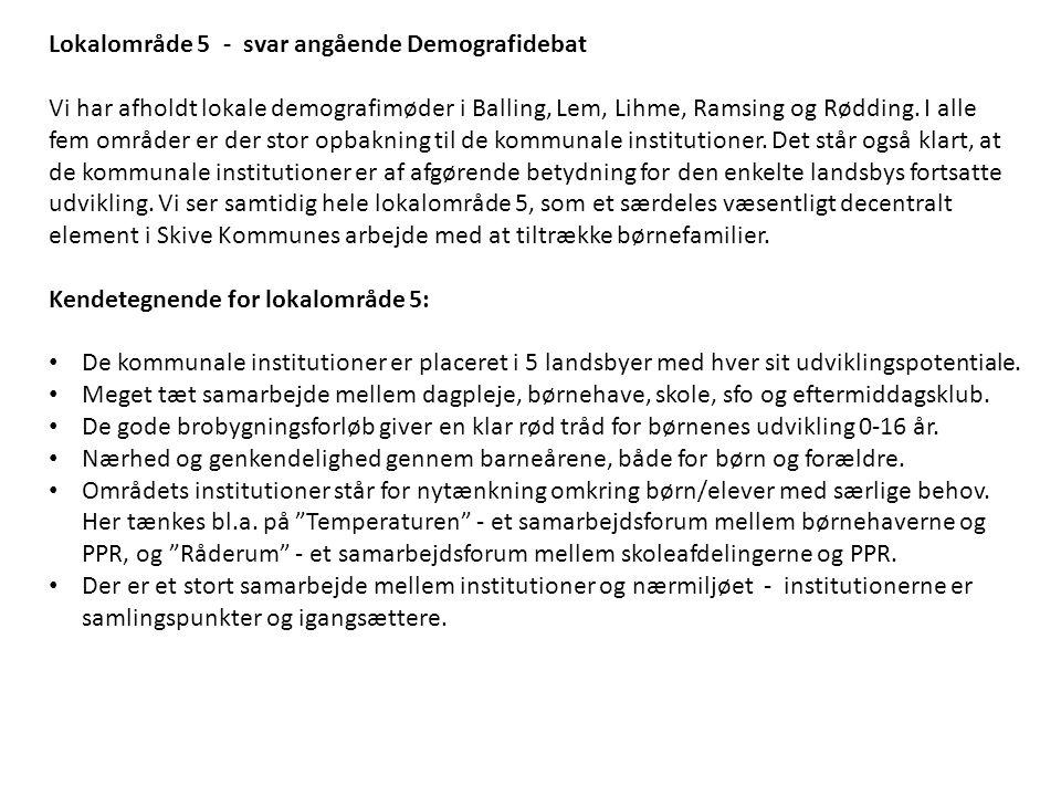 Lokalområde 5 - svar angående Demografidebat Vi har afholdt lokale demografimøder i Balling, Lem, Lihme, Ramsing og Rødding.