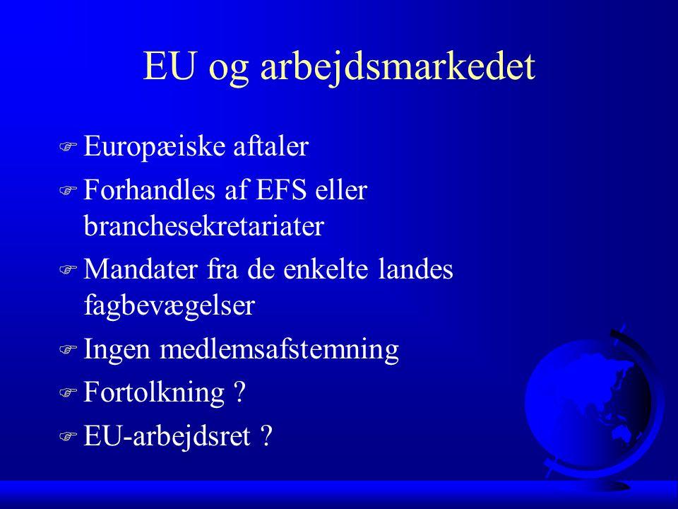 EU og arbejdsmarkedet F Europæiske aftaler F Forhandles af EFS eller branchesekretariater F Mandater fra de enkelte landes fagbevægelser F Ingen medlemsafstemning F Fortolkning .