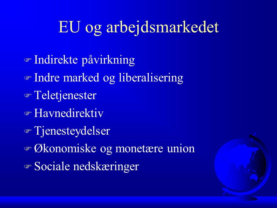 EU og arbejdsmarkedet F Indirekte påvirkning F Indre marked og liberalisering F Teletjenester F Havnedirektiv F Tjenesteydelser F Økonomiske og monetære union F Sociale nedskæringer