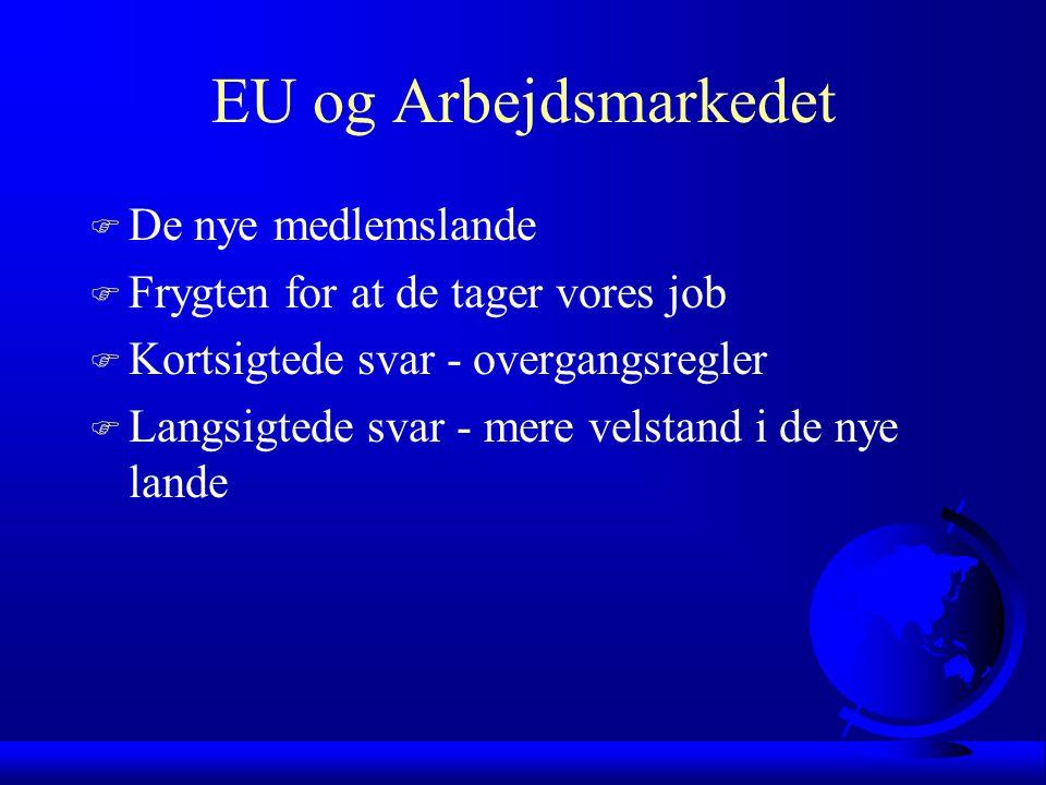 EU og Arbejdsmarkedet F De nye medlemslande F Frygten for at de tager vores job F Kortsigtede svar - overgangsregler F Langsigtede svar - mere velstand i de nye lande