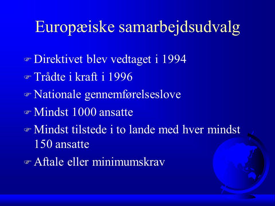 Europæiske samarbejdsudvalg F Direktivet blev vedtaget i 1994 F Trådte i kraft i 1996 F Nationale gennemførelseslove F Mindst 1000 ansatte F Mindst tilstede i to lande med hver mindst 150 ansatte F Aftale eller minimumskrav