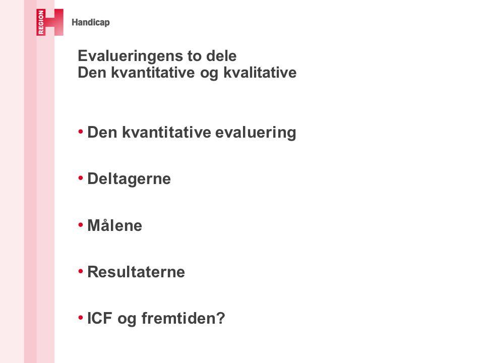 Evalueringens to dele Den kvantitative og kvalitative Den kvantitative evaluering Deltagerne Målene Resultaterne ICF og fremtiden