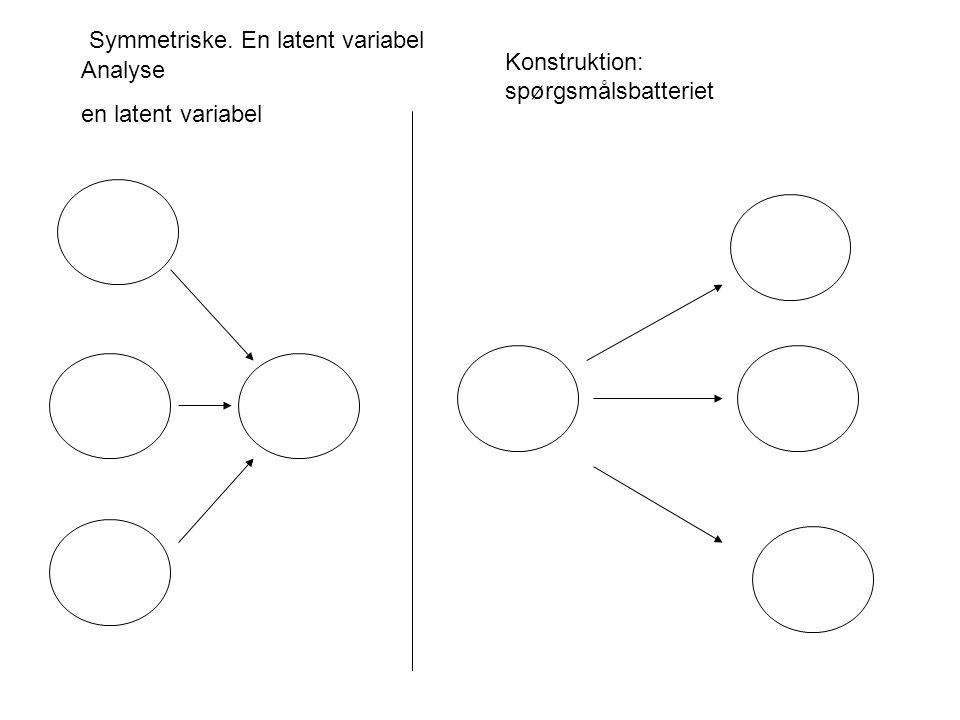 Konstruktion: spørgsmålsbatteriet Analyse en latent variabel Symmetriske. En latent variabel
