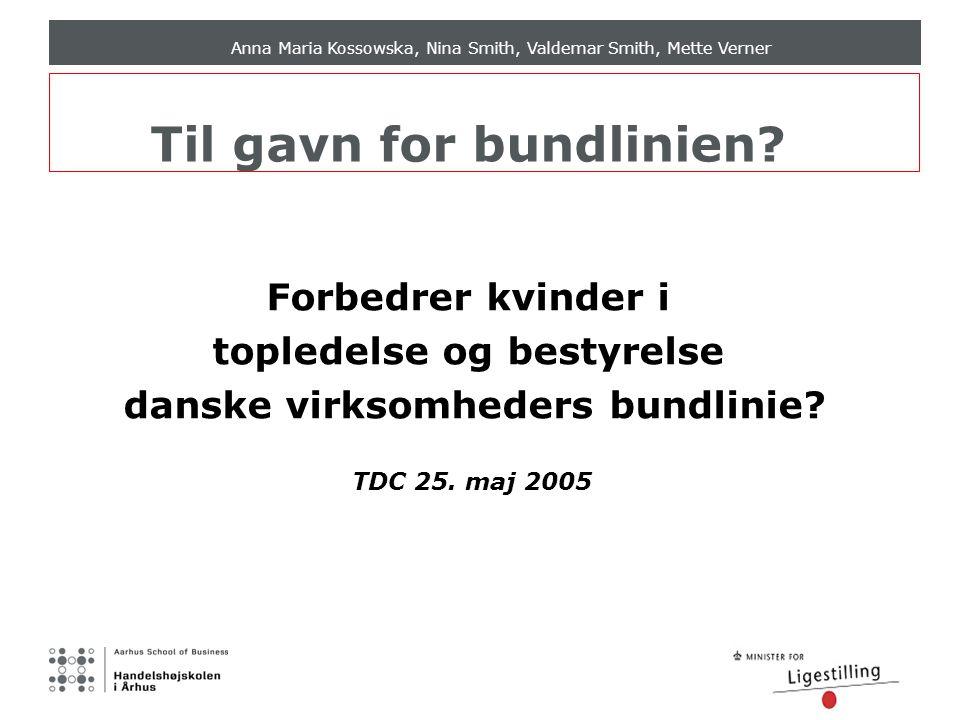 Anna Maria Kossowska, Nina Smith, Valdemar Smith, Mette Verner Til gavn for bundlinien.