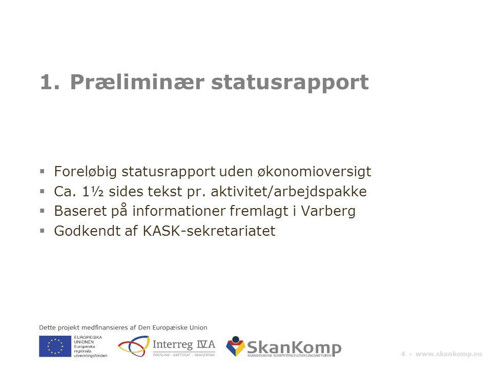 4 ▪ www.skankomp.eu 1.Præliminær statusrapport  Foreløbig statusrapport uden økonomioversigt  Ca.