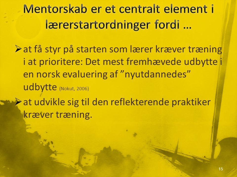  at få styr på starten som lærer kræver træning i at prioritere: Det mest fremhævede udbytte i en norsk evaluering af nyutdannedes udbytte (Nokut, 2006)  at udvikle sig til den reflekterende praktiker kræver træning.