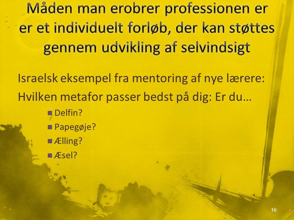 Israelsk eksempel fra mentoring af nye lærere: Hvilken metafor passer bedst på dig: Er du… Delfin.