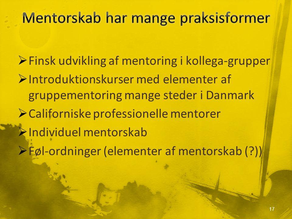  Finsk udvikling af mentoring i kollega-grupper  Introduktionskurser med elementer af gruppementoring mange steder i Danmark  Californiske professionelle mentorer  Individuel mentorskab  Føl-ordninger (elementer af mentorskab ( )) 17