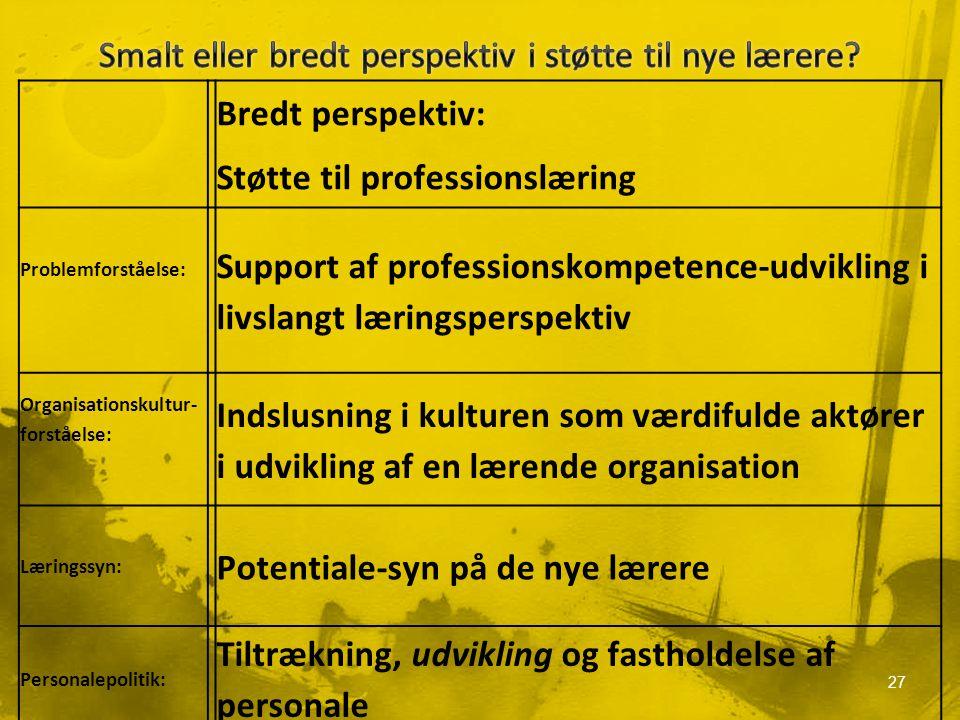 Bredt perspektiv: Støtte til professionslæring Problemforståelse: Support af professionskompetence-udvikling i livslangt læringsperspektiv Organisationskultur- forståelse: Indslusning i kulturen som værdifulde aktører i udvikling af en lærende organisation Læringssyn: Potentiale-syn på de nye lærere Personalepolitik: Tiltrækning, udvikling og fastholdelse af personale 27