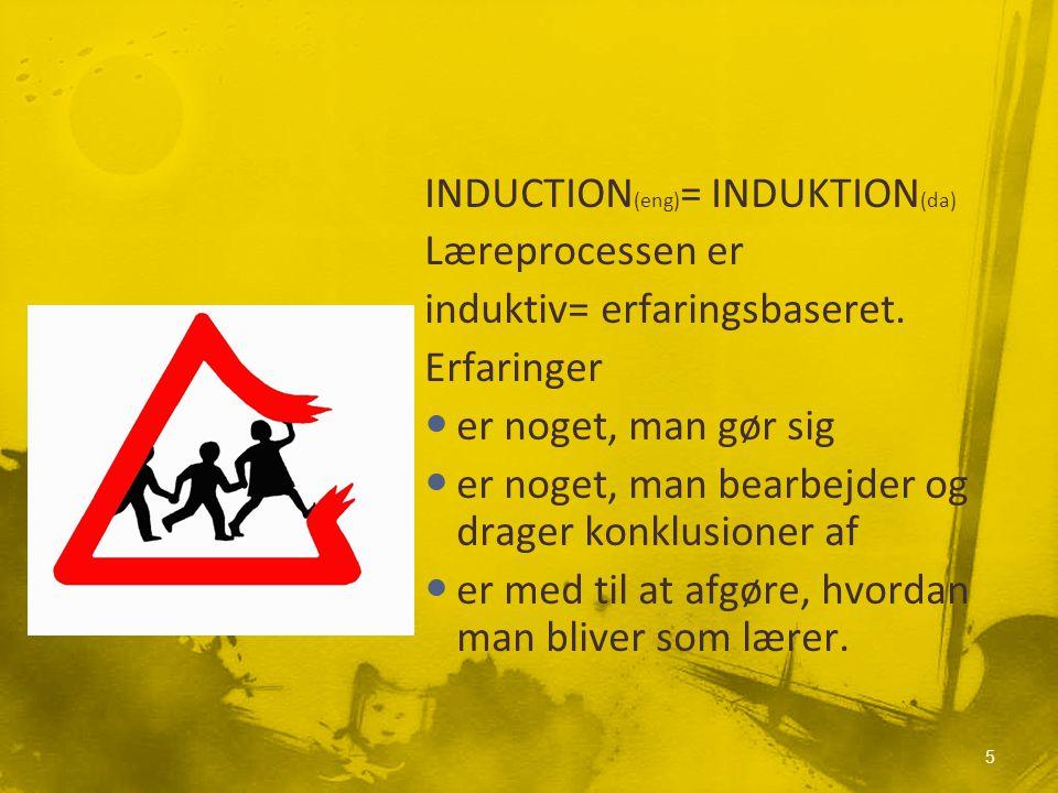 INDUCTION (eng) = INDUKTION (da) Læreprocessen er induktiv= erfaringsbaseret.