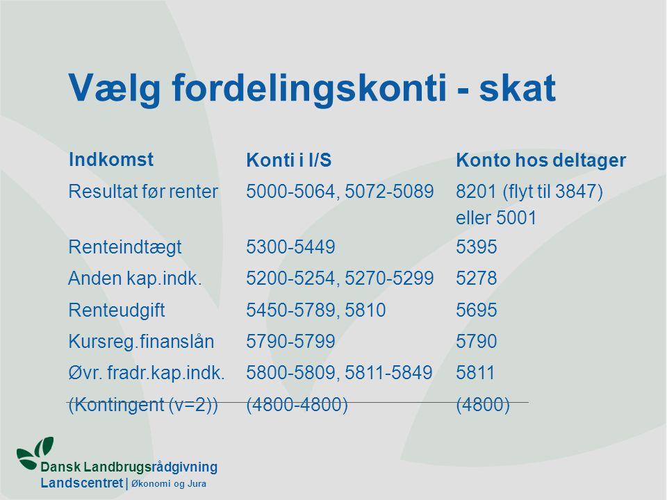 Dansk Landbrugsrådgivning Landscentret | Økonomi og Jura Vælg fordelingskonti - skat Indkomst Konti i I/SKonto hos deltager Resultat før renter5000-5064, 5072-50898201 (flyt til 3847) eller 5001 Renteindtægt5300-54495395 Anden kap.indk.5200-5254, 5270-52995278 Renteudgift5450-5789, 58105695 Kursreg.finanslån5790-57995790 Øvr.