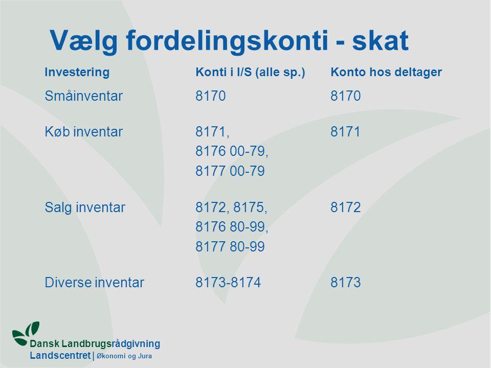 Dansk Landbrugsrådgivning Landscentret | Økonomi og Jura Vælg fordelingskonti - skat InvesteringKonti i I/S (alle sp.)Konto hos deltager Småinventar8170 Køb inventar8171, 8176 00-79, 8177 00-79 8171 Salg inventar8172, 8175, 8176 80-99, 8177 80-99 8172 Diverse inventar8173-81748173