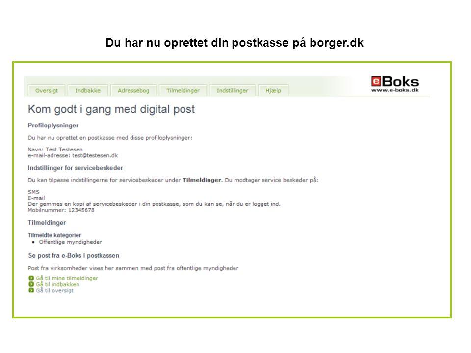 Du har nu oprettet din postkasse på borger.dk