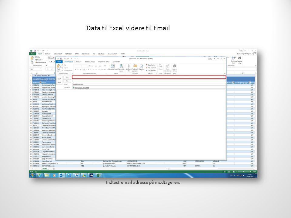 Data til Excel videre til Email Indtast email adresse på modtageren.