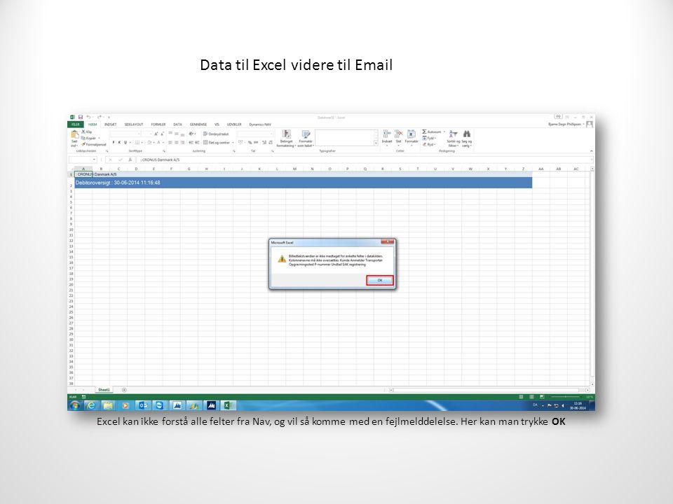 Data til Excel videre til Email Excel kan ikke forstå alle felter fra Nav, og vil så komme med en fejlmelddelelse.