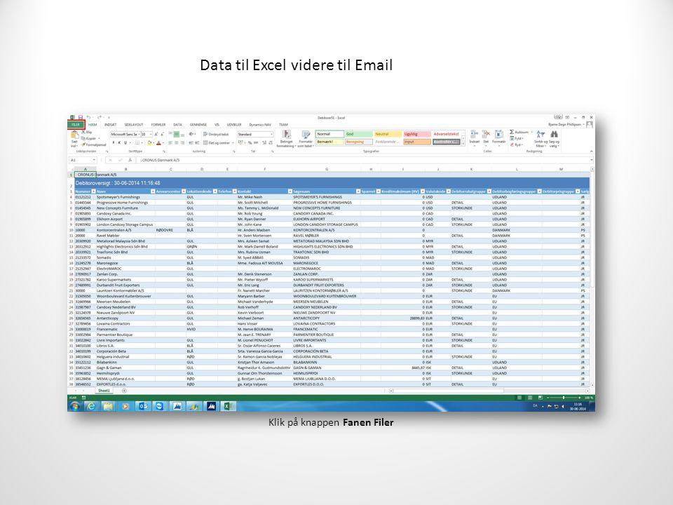 Data til Excel videre til Email Klik på knappen Fanen Filer