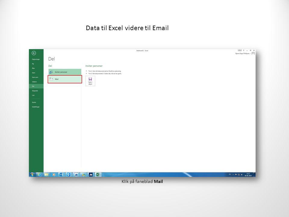 Data til Excel videre til Email Klik på faneblad Mail