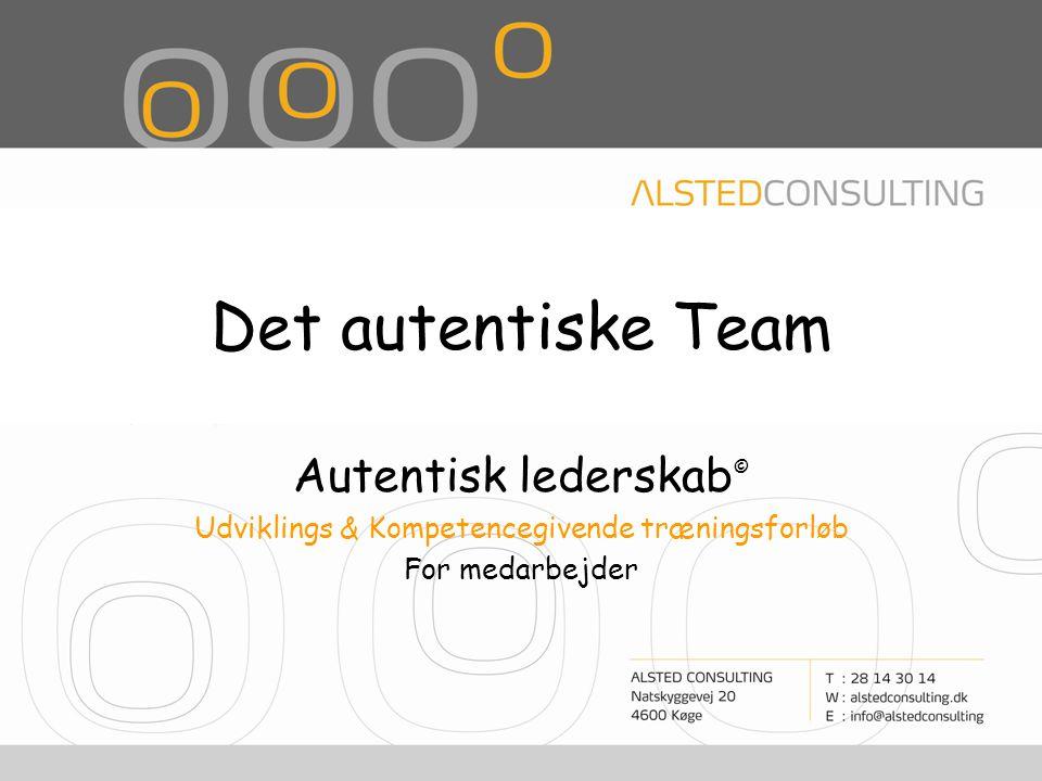Det autentiske Team Autentisk lederskab © Udviklings & Kompetencegivende træningsforløb For medarbejder
