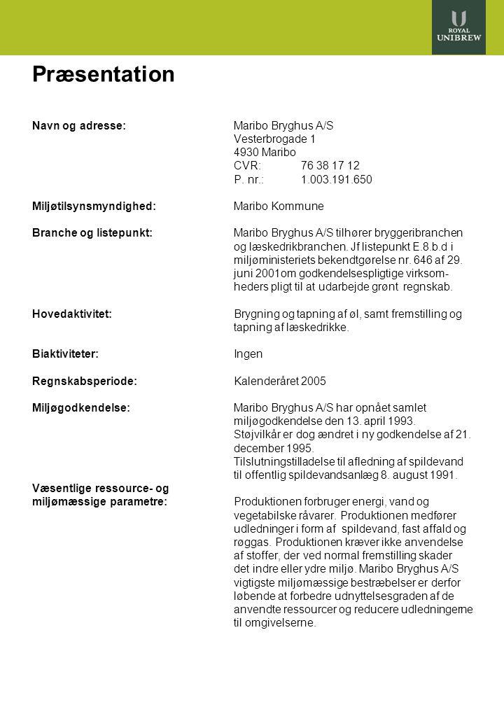 2 Præsentation Navn og adresse:Maribo Bryghus A/S Vesterbrogade 1 4930 Maribo CVR: 76 38 17 12 P.