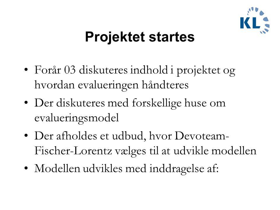 Projektet startes Forår 03 diskuteres indhold i projektet og hvordan evalueringen håndteres Der diskuteres med forskellige huse om evalueringsmodel Der afholdes et udbud, hvor Devoteam- Fischer-Lorentz vælges til at udvikle modellen Modellen udvikles med inddragelse af: