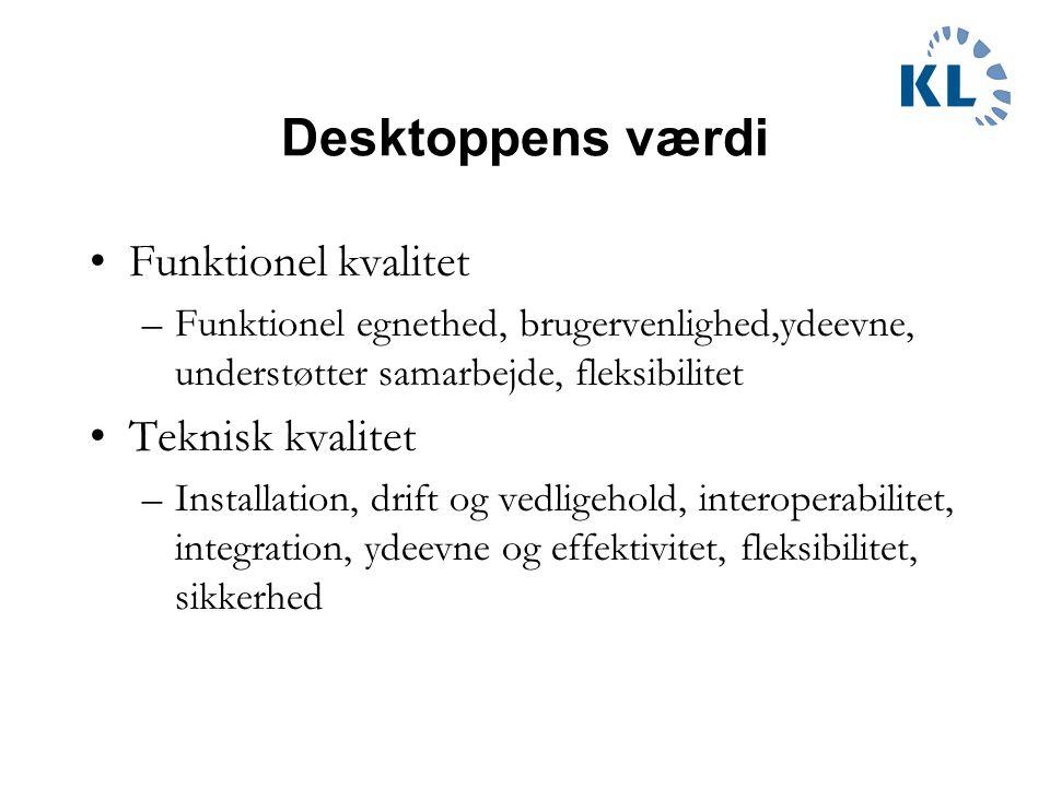 Desktoppens værdi Funktionel kvalitet –Funktionel egnethed, brugervenlighed,ydeevne, understøtter samarbejde, fleksibilitet Teknisk kvalitet –Installation, drift og vedligehold, interoperabilitet, integration, ydeevne og effektivitet, fleksibilitet, sikkerhed