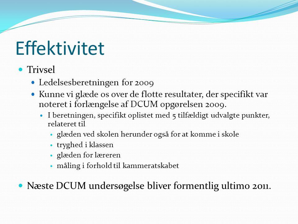 Effektivitet Trivsel Ledelsesberetningen for 2009 Kunne vi glæde os over de flotte resultater, der specifikt var noteret i forlængelse af DCUM opgørelsen 2009.