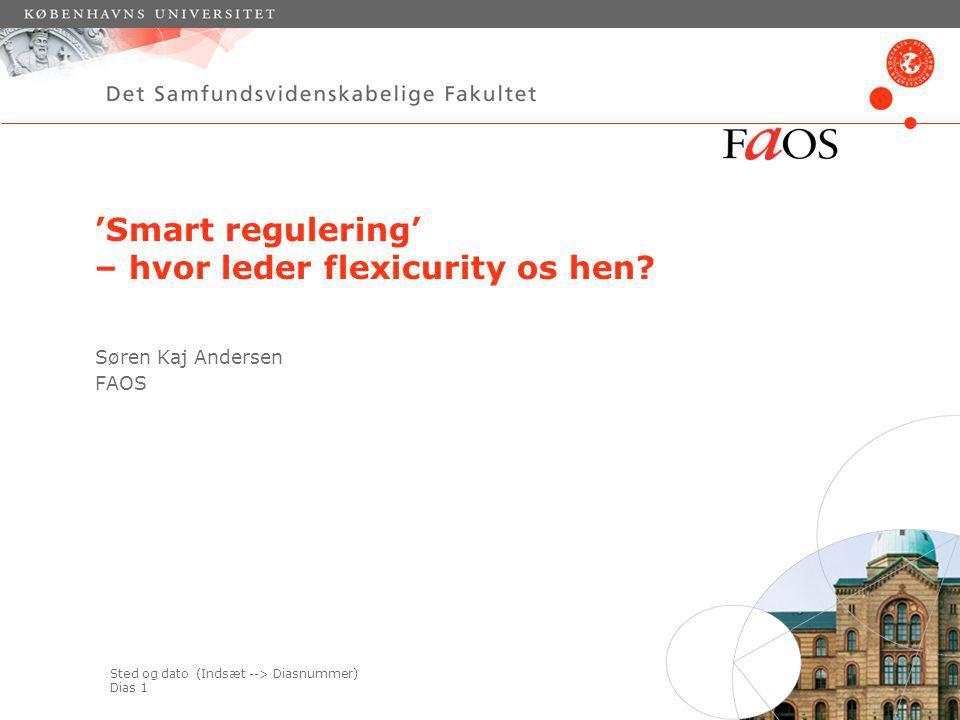 Sted og dato (Indsæt --> Diasnummer) Dias 1 'Smart regulering' – hvor leder flexicurity os hen.