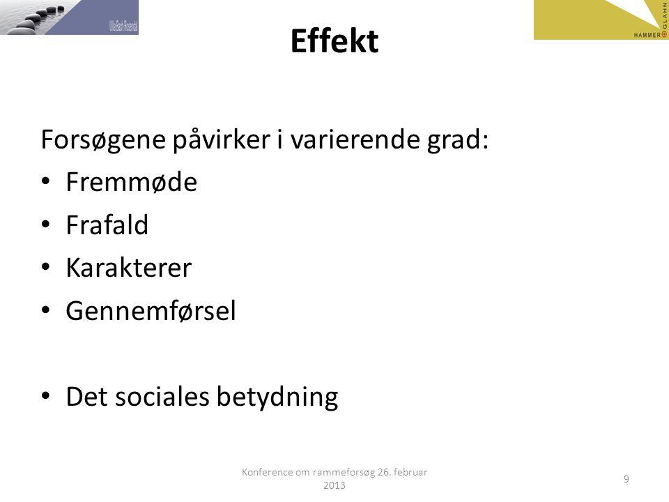 Effekt Forsøgene påvirker i varierende grad: Fremmøde Frafald Karakterer Gennemførsel Det sociales betydning Konference om rammeforsøg 26.