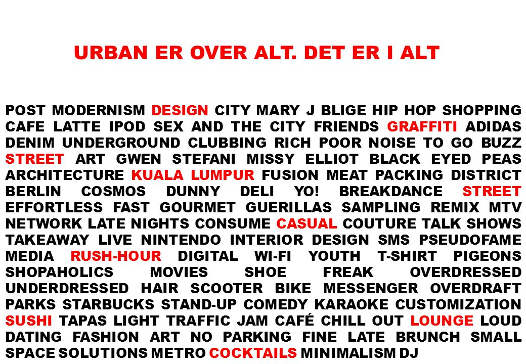 POST MODERNISM DESIGN CITY MARY J BLIGE HIP HOP SHOPPING CAFE LATTE IPOD SEX AND THE CITY FRIENDS GRAFFITI ADIDAS DENIM UNDERGROUND CLUBBING RICH POOR NOISE TO GO BUZZ STREET ART GWEN STEFANI MISSY ELLIOT BLACK EYED PEAS ARCHITECTURE KUALA LUMPUR FUSION MEAT PACKING DISTRICT BERLIN COSMOS DUNNY DELI YO.