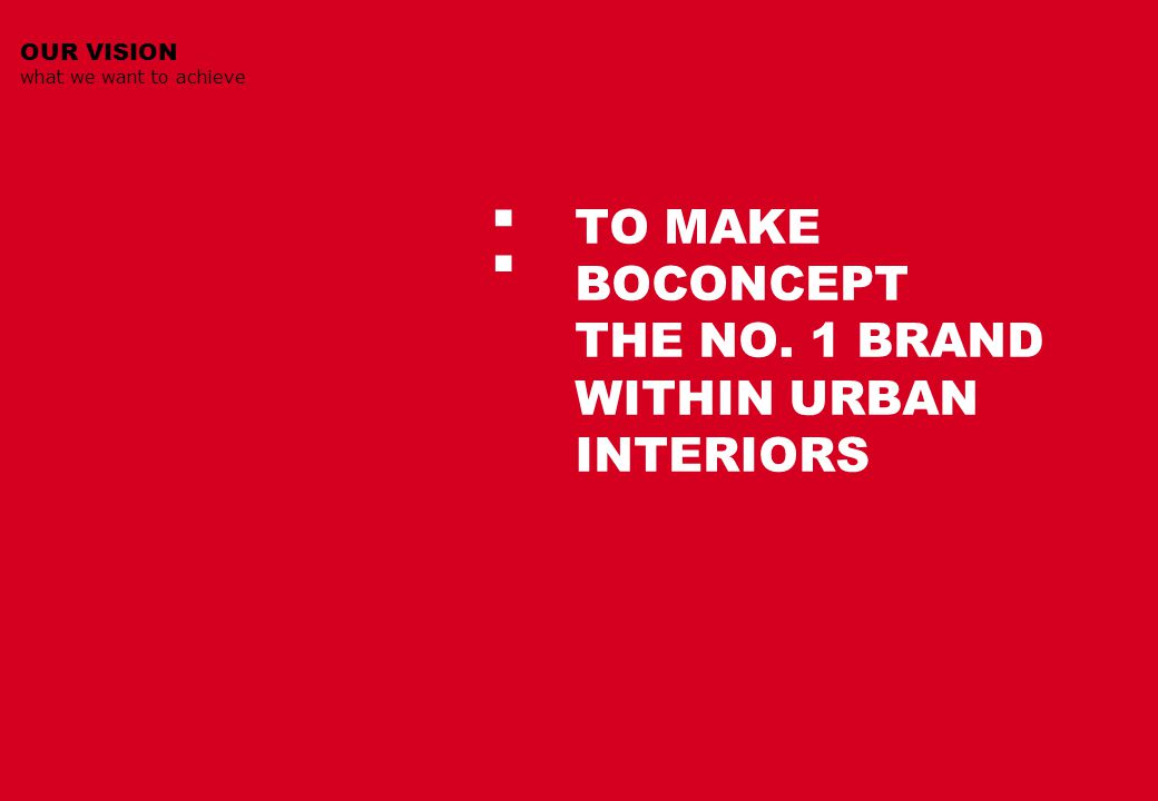 OUR VISION what we want to achieve : TO MAKE BOCONCEPT THE NO. 1 BRAND WITHIN URBAN INTERIORS