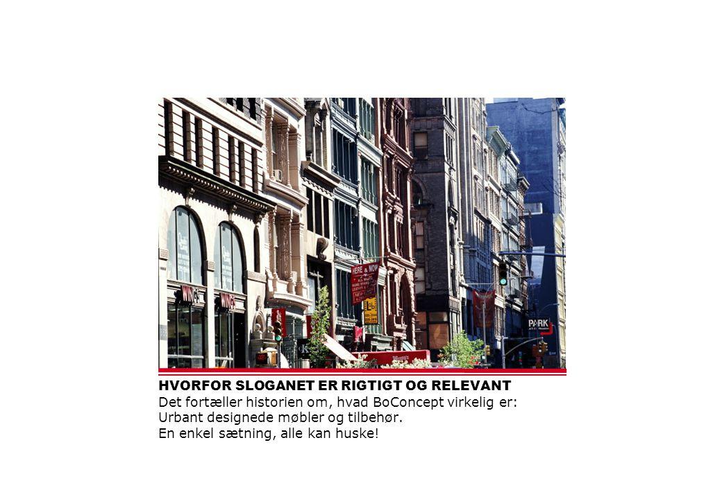 HVORFOR SLOGANET ER RIGTIGT OG RELEVANT Det fortæller historien om, hvad BoConcept virkelig er: Urbant designede møbler og tilbehør.