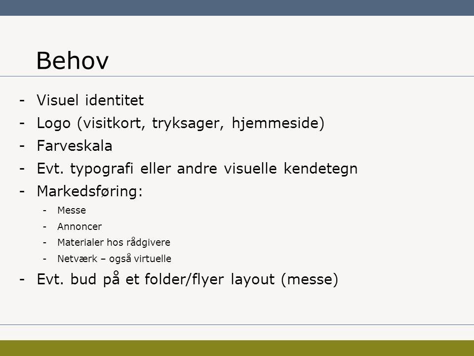 Behov -Visuel identitet -Logo (visitkort, tryksager, hjemmeside) -Farveskala -Evt.