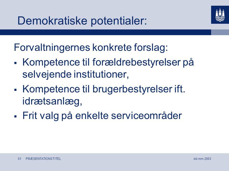 01 PRÆSENTATIONSTITEL dd.mm.2003 Demokratiske potentialer: Forvaltningernes konkrete forslag:  Kompetence til forældrebestyrelser på selvejende institutioner,  Kompetence til brugerbestyrelser ift.
