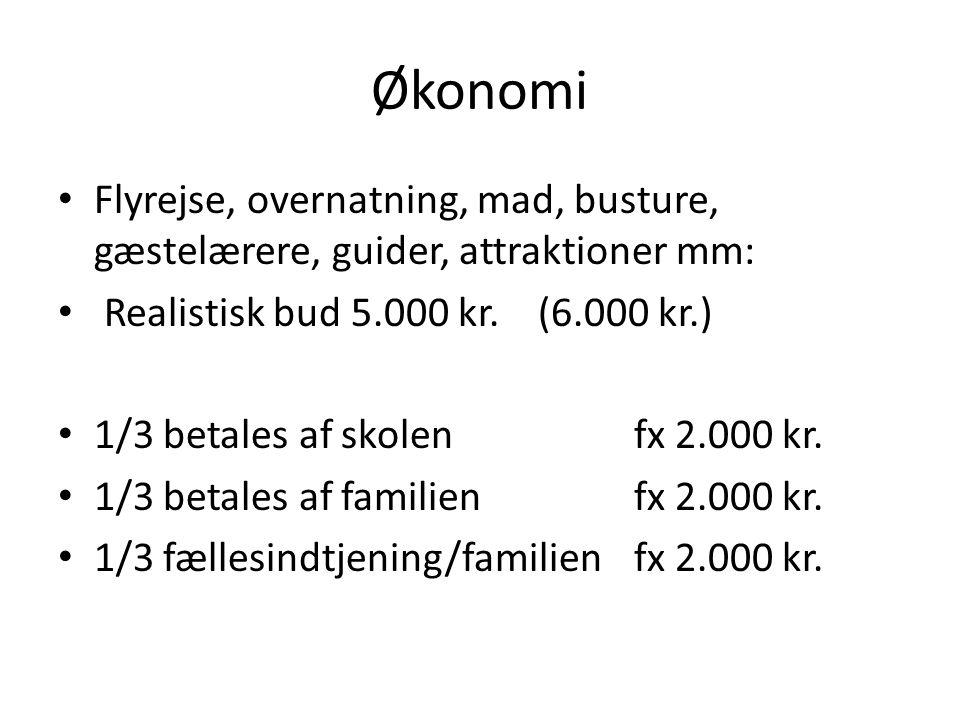 Økonomi Flyrejse, overnatning, mad, busture, gæstelærere, guider, attraktioner mm: Realistisk bud 5.000 kr.