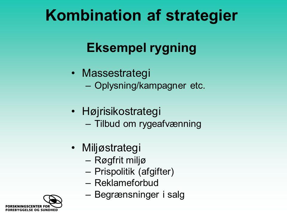 Kombination af strategier Eksempel rygning Massestrategi –Oplysning/kampagner etc.