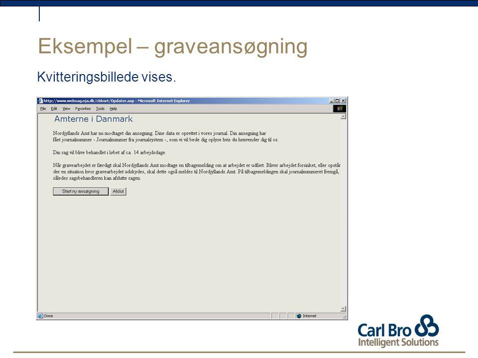Eksempel – graveansøgning Kvitteringsbillede vises.