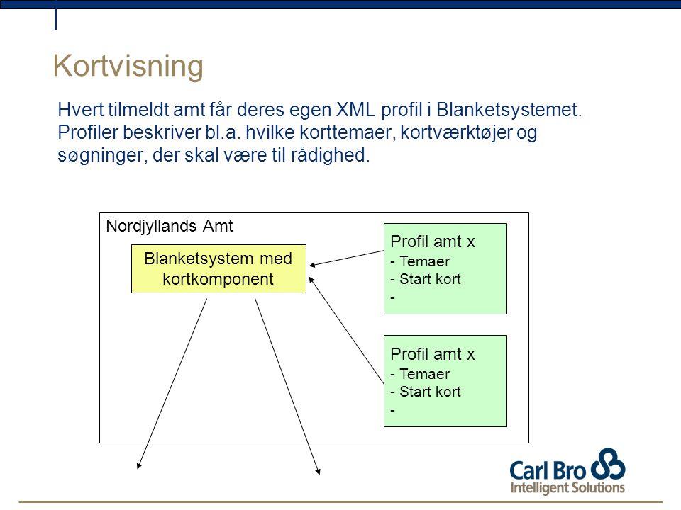 Kortvisning Hvert tilmeldt amt får deres egen XML profil i Blanketsystemet.